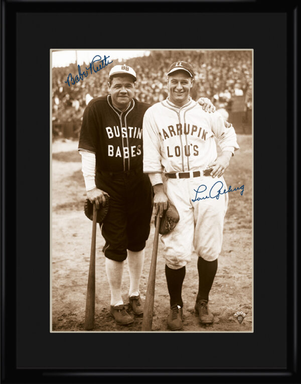 Lithograph – 11×14 Bustin Babes – Babe Ruth and Lou Gehrig-0
