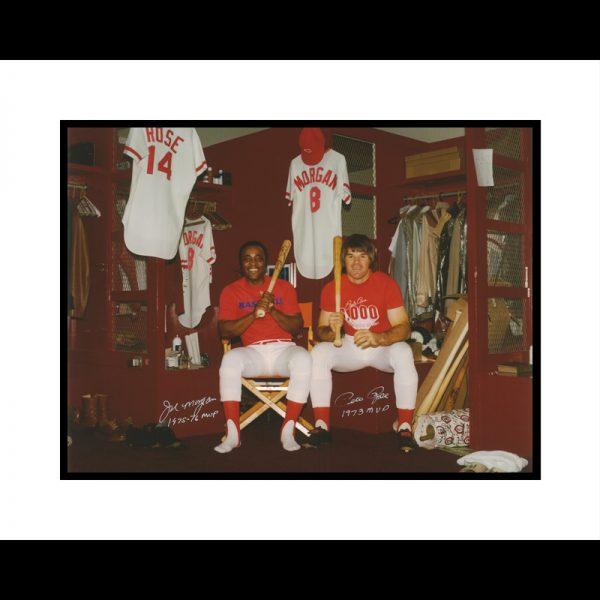 Joe Morgan and Pete Rose in Clubhouse Signed Framed 16×20-0