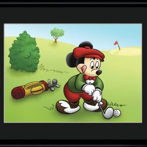 Mickey Golfing 11x14 Color Lithograph-0